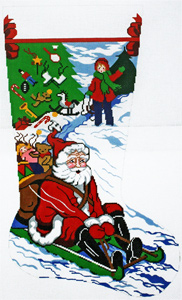Santa Sledding Hand-painted Christmas Stocking Canvas