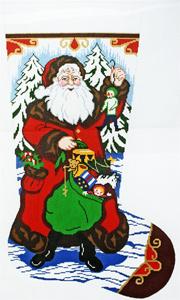 Santa with Gifts Hand-painted Christmas Stocking Canvas