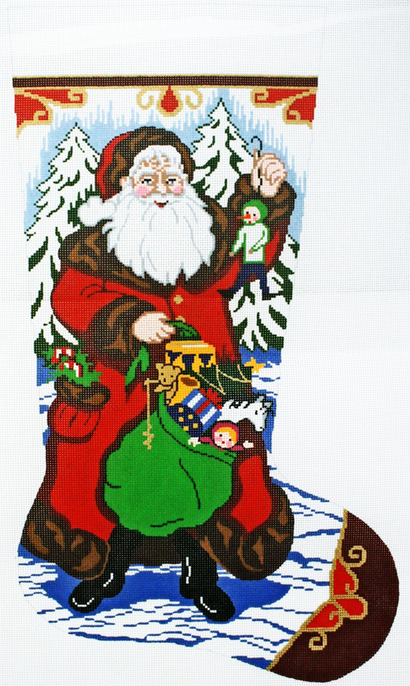 Needlepointus World Class Needlepoint Santa With Gifts