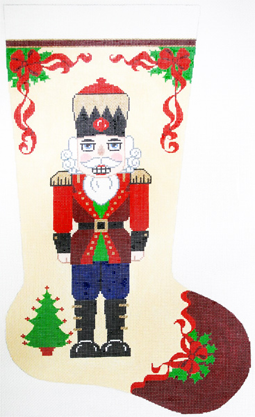 Nutcracker with Tree Hand-painted Christmas Stocking Canvas