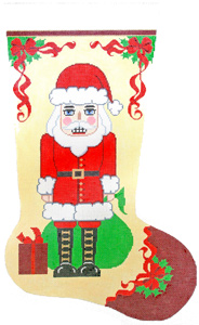 Nutcracker Santa Hand-painted Christmas Stocking Canvas