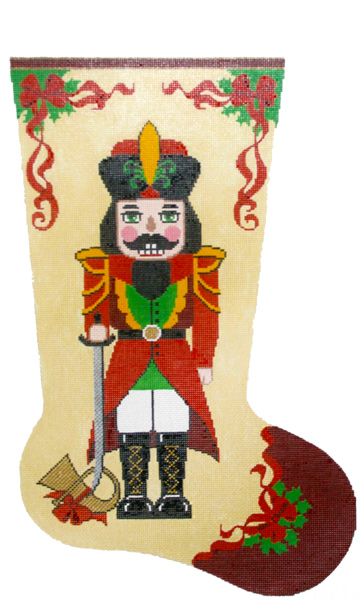 Nutcracker with French Horn Hand-painted Christmas Stocking Canvas