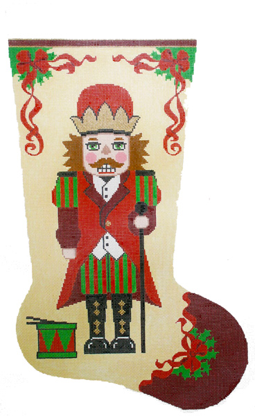 Nutcracker with Drum Hand-painted Christmas Stocking Canvas