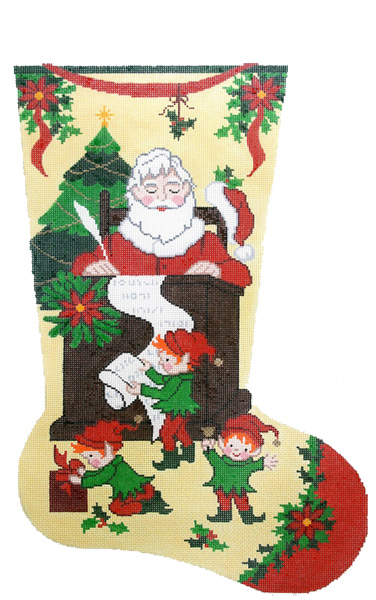 Santa's List Hand-painted Christmas Stocking Canvas
