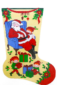 Sleeping Santa Hand-painted Christmas Stocking Canvas