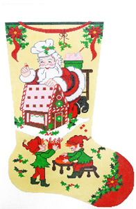 Gingerbread Santa Hand-painted Christmas Stocking Canvas