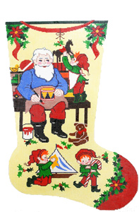 Santa's Workshop Hand-painted Christmas Stocking Canvas