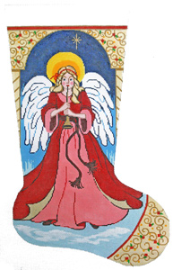 Angel with Horn Hand-painted Christmas Stocking Canvas