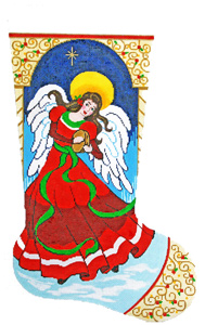 Angel with Tambourine Hand-painted Christmas Stocking Canvas