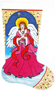 Angel with Harp Hand-painted Christmas Stocking Canvas