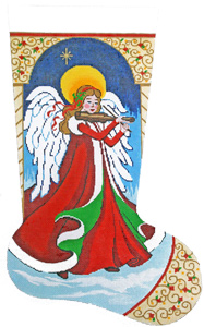 Angel with Violin Hand-painted Christmas Stocking Canvas