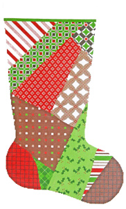 Patchwork #1 Hand-painted Christmas Stocking Canvas