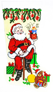 Santa with Toys Hand-painted Christmas Stocking Canvas