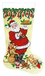 Santa with Treats Hand-painted Christmas Stocking Canvas