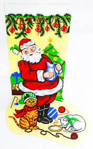 Santa with Kittens Hand-painted Christmas Stocking Canvas
