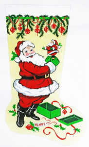Santa with Mini Santa Hand-painted Christmas Stocking Canvas