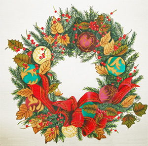 Christmas Ornament Wreath - Hand Painted Design from Trubey Designs