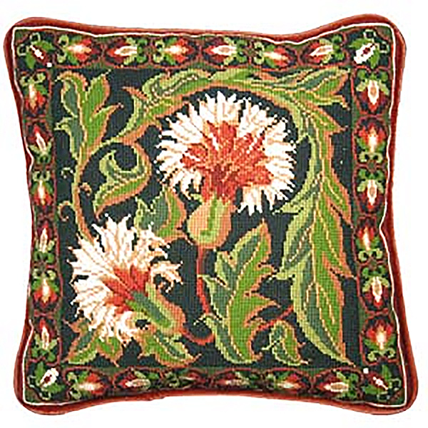Animal Fayre Needlepoint Cushions Kit - Autumn Carnation Tile