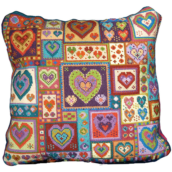 Animal Fayre Needlepoint Cushions Kit - Little Heart Patchwork