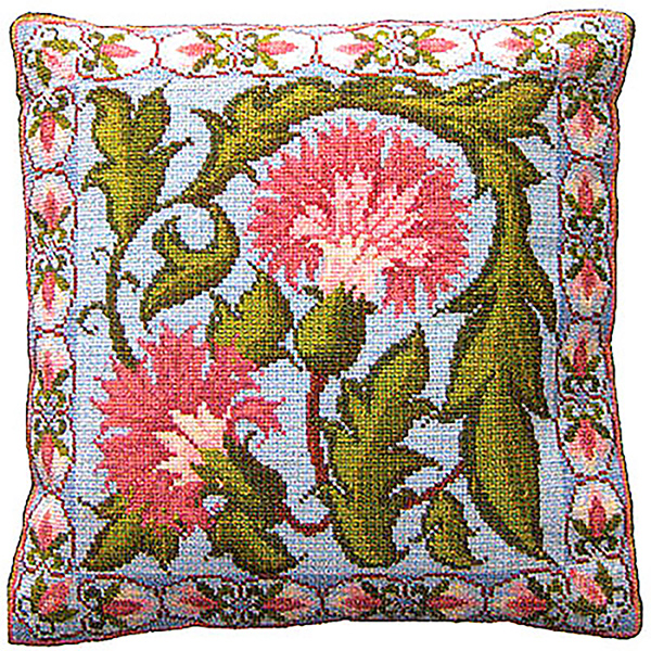 Animal Fayre Needlepoint Cushions Kit - Blue Carnation Tile