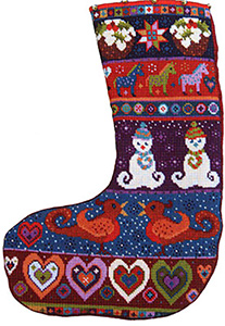 Animal Fayre Needlepoint Christmas Stocking - Snowman