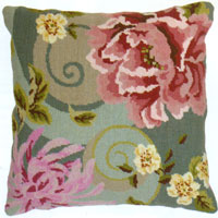 Floral Swirl In Green Needlepoint Cushion Kit from the Anchor Living Collection