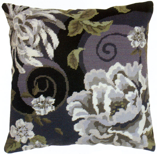 Floral Swirl In Black Needlepoint Cushion Kit from the Anchor Living Collection