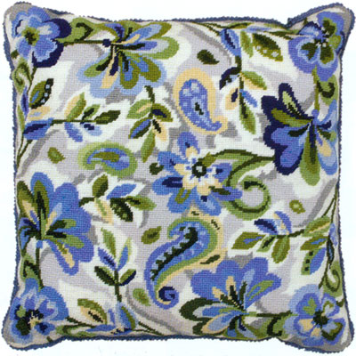 Paisley Floral in Blue Needlepoint Cushion Kit from the Anchor Living Collection