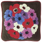 Beth Russell Needlepoint Anemones Pillow/Footstool Cover Kit