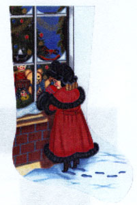 Victorian Shopper Needlepoint Stocking Canvas