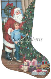 Theodore and Santa Needlepoint Stocking Canvas