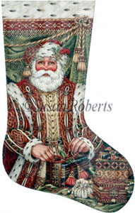 Renaissance Santa Hand Painted Needlepoint Stocking Canvas