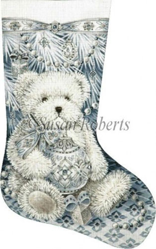 Snow Bear - 13 Count Hand Painted Needlepoint Stocking Canvas
