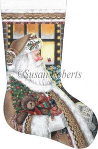 Santa on the Job - 13 Count Hand Painted Needlepoint Stocking Canvas