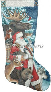 Woodland Christmas - 18 Count Hand Painted Needlepoint Stocking Canvas