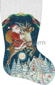 Santa on Reindeer Hand Painted Needlepoint Stocking Canvas