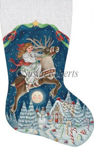 Girl on Reindeer Hand Painted Needlepoint Stocking Canvas