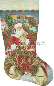Full Sleigh Hand Painted Needlepoint Stocking Canvas