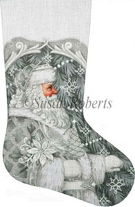 Silver Santa Hand Painted Needlepoint Stocking Canvas