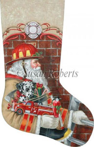 Fireman Santa Hand Painted Needlepoint Stocking Canvas