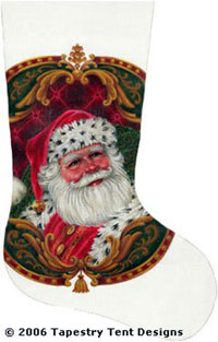 Santa Portrait Hand Painted Needlepoint Stocking Canvas