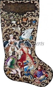 12 Days of Christmas Hand Painted Needlepoint Stocking Canvas