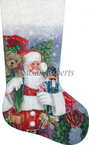 Santa's Ready to Go Hand Painted Needlepoint Stocking Canvas
