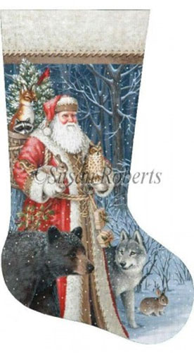 Woodland Territorial Santa - 18 Count Hand Painted Needlepoint Stocking Canvas
