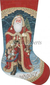 Santa Brings Joy Hand Painted Needlepoint Stocking Canvas
