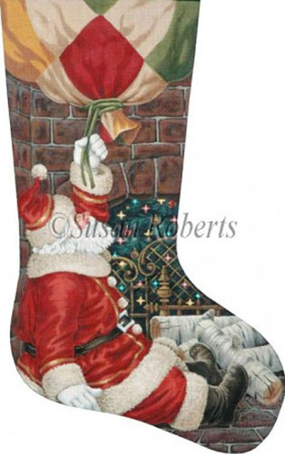 Bottom of the Chimney Hand Painted Needlepoint Stocking Canvas