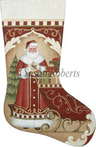 Santa's Red Sleigh Hand Painted Needlepoint Stocking Canvas