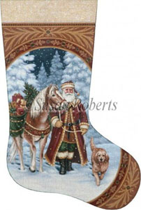 Santa and Pack Horse Hand Painted Needlepoint Stocking Canvas