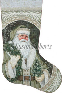 Evergreen Santa Hand Painted Needlepoint Stocking Canvas
