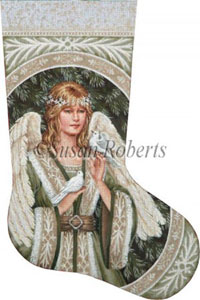 Evergreen Angel Hand Painted Needlepoint Stocking Canvas